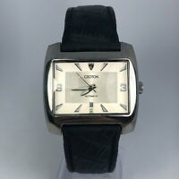 Croton Womens Swiss Automatic Movement White Dial Black Leather Band Watch