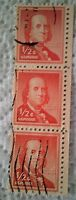 1955 Scott 1030 U. S. Benjamin Franklin three used 1/2 cent stamp off paper