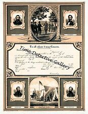 Certificate of Discharge from the Union Army - Historic Civil War Print