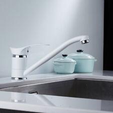 Modern White Single Lever Kitchen Sink Mono Basin Mixer Taps Faucet Swivel Spout
