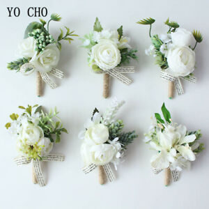 White Bridesmaid Groom Boutonniere Corsage Sister Wrist Artificial Flower Rose