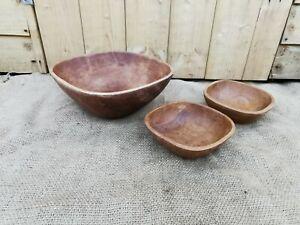Vintage wooden fruit bowls