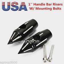 """Black 1"""" Bar Spike Handlebar Risers for Harley Custom Springer Bobber Chopper US"""