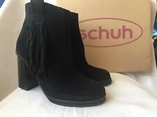BNIB SCHUH BLACK SUEDE ANKLE BOOTS - UK SIZE 8 / EU 41 - RRP £75  !!!!!!!!!!!!!