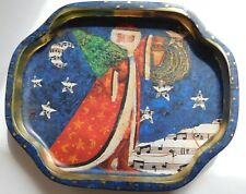 """Vintage Hand Painted Musical Theme Santa Claus Set 6 Small Metal Trays 7.5"""""""