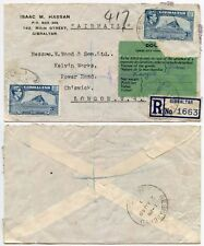 GIBRALTAR REGISTERED + CUSTOMS to GB 6d RATE PRINTED ENVELOPE ISAAC HASSAN 1949