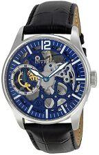 Invicta 12404 Vintage Mechanical Blue Skeleton Dial Leather Strap Men's Watch