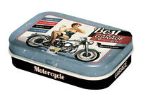 Retro Tin Metal Pill Box 'BEST GARAGE' filled with Mints - Pin Up Motorcycles