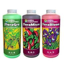 General Hydroponics FloraGro, FloraMicro, FloraBloom 32 oz Qt Quart Gh