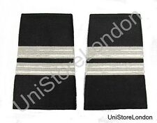 Epaulet Pilot Epaulette Sliders 2 Silver Mylar Bar Flight Engineer Black R1307