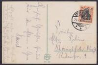 DR Mi Nr. 89 EF auf AK Riesengebirge mit KGS Krummhübel 1920, Germania