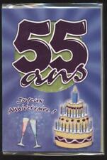 NEUF CARTE ANNIVERSAIRE 55 ANS + ENVELOPPE !! 10 CARTES ACHETEES = PORT GRATUIT