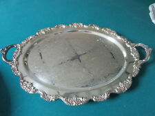 "TAUNTON MASS USA SILVERPLATE FOOTED TRAY 20 X 14"" [*MET2]"