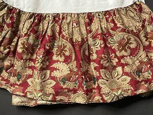 Ralph Lauren *JARDINIERE KING Bed Skirt Dust ruffle Red Paisley Sateen *EUC