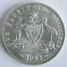 AUSTRALIAN EF 1921 FLORIN KGV GEORGE V SILVER COIN LUSTRE SCARCE HIGH VALUE