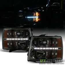 Smoked Lens 2007-2013 Chevy Silverado 1500 2500HD 3500HD LED Headlights Headlamp