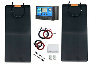 200W 2x100W flexible solar panel kit 20A charger controller motorhome boat