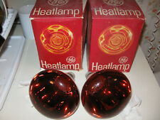 Vintage GE General Electric Heat Lamp 250W Infrared Red Bulbs