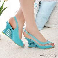 Ladies Peep toe Clear Transparent High Wedge Sandals Slingback Shoes Plus Size #