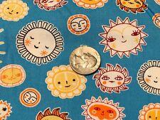 Fabric Little Senoritas Celestial Suns on Blue Cotton by the 1/4 yard BIN