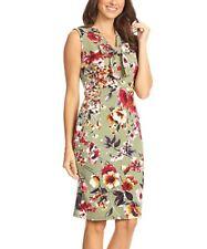 Ladies Womens Size UK 18 Sheath Dress Green Floral Sleeveless Tie Neck #B36