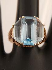 Designer Filigree Custom Wide 14k YG HUGE 10 ct (marked in band) Blue Topaz Ring