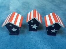 3 RED, WHITE AND BLUE WITH WHITE STARS WOOD BIRD HOUSES DECOR FLAG