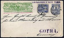 US MEXICO 1895 WELLS FARGO UPRATED EXPRESS TO GOTHA GERMANY COVER INTENDED FOR