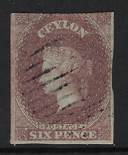 CEYLON : 1857 SIX PENCE light brown IMPERFORATE SG 6c used