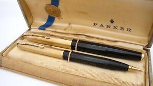 GORGEOUS PARKER 51 HERITAGE VACUMATIC SET, BLACK & GOLD, 14K FINE NIB, USA, 1946