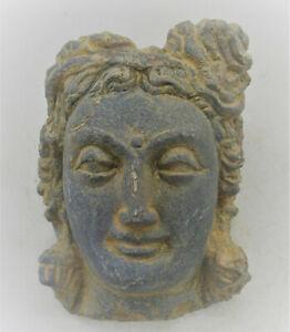 SCARCE ANCIENT GANDHARA STONE STATUE FRAGMENT HEAD OF BUDDHA