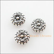 12Pcs Tibetan Silver Tone Flower Round Flat Spacer Beads Charms 7mm
