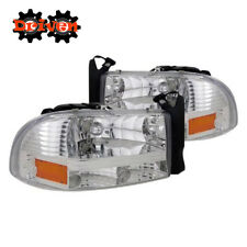97-04 Dodge Dakota 98-03 Durango 1pc Headlights Crystal Chrome Housing Sport