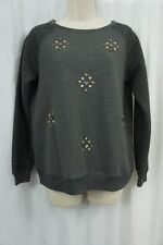 Sanctuary Sweater Top Sz S Charcoal Grey Rhinestone Embellished Quilted Raglan