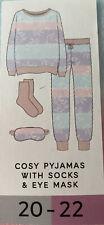 Marks And Spencer Cosy Pyjamas With Socks & Eye Mask Size 20-22