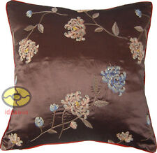 brown with bothside hand embroidery floral Satin Cushion Cover/Pillow Case