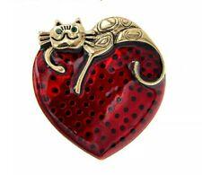 Brosche ? Katze  auf dem Herz Anstecknadel Pin emaliert Neu!