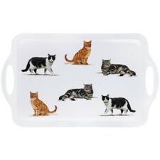 49cm Cats Melamine Serving Food Large White Tray with Handles Snack Meal Plate