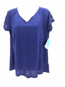 Columbia Short Sleeve V Neck Lightweight Blue Athletic Shirt Top Womens XL Reg