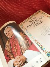 """The Holy Bible """"New American"""" 1992 White Leather Gold Trimming Catholic Religion"""