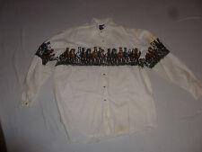 Vintage Mens Wrangler Pearl Button Up Western Shirt Horses Size Xl Cotton Horse