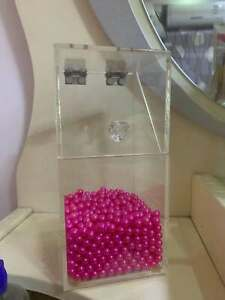 Clear Acrylic Makeup Brush Pearls Holder With Lid Dustproof Organizer Pearls