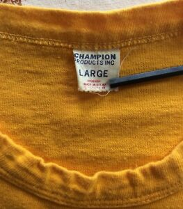 Vtg 60s Champion Brand Football Jersey Style T-Shirt Yellow #74 Products