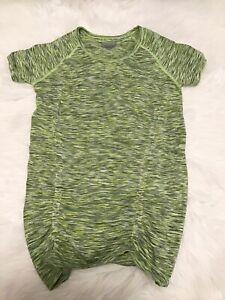 ATHLETA Women's Size Medium Ruched Green Heather Running Shirt Workout