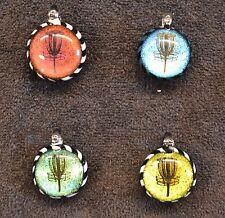 Glass Pendant dichroic image of disc golf basket pyrex