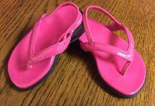 Faded Glory infant sandals size 2 hot pink slip on wedge heels flip flops F29