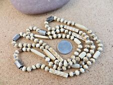 """41"""" Tribal Necklace 53.3 gr #267 New listing Vintage Tan Cream Carved Beaded Beads"""