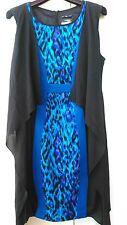 Originale abito stampa animalier maculato nero bluette tg 44 Matrimonio Cocktail