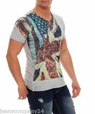 Carisma Shirt Hemd Kurzarm Vintage Dirty Oil Style Biker TShirt Flagge Grau S