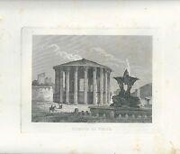 1848 ROMA TEMPIO DI VESTA acquaforte su rame Cottafavi